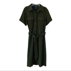 Eva Blue Women's Army Green Military Style Utility Knee Length Shirt Dress Sz 12